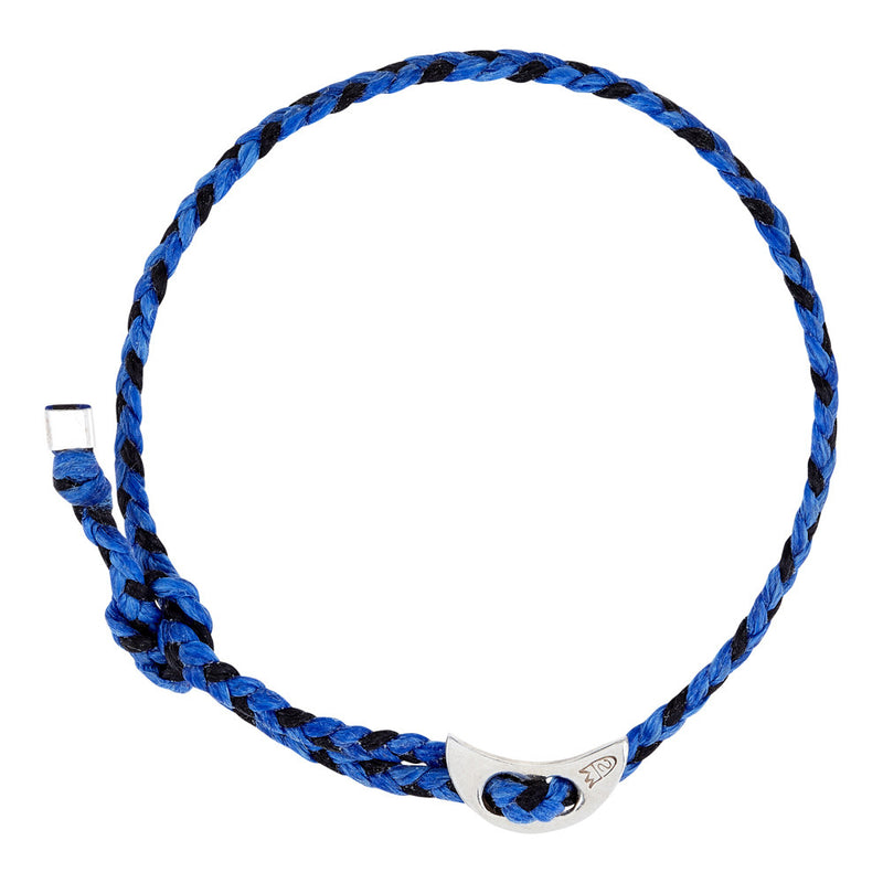 (4mm) Moon Signature Royal Blue & Black in Silver