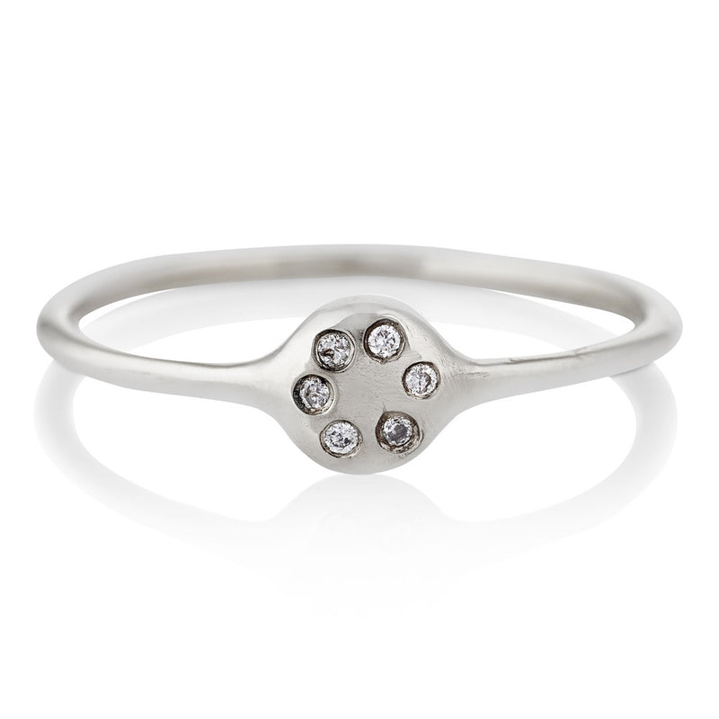 Lolli Ring in Silver with Diamonds