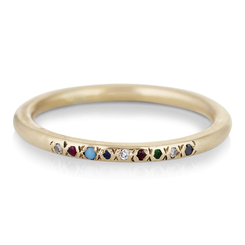 Nine Stone Stack Ring with Mixed Stones