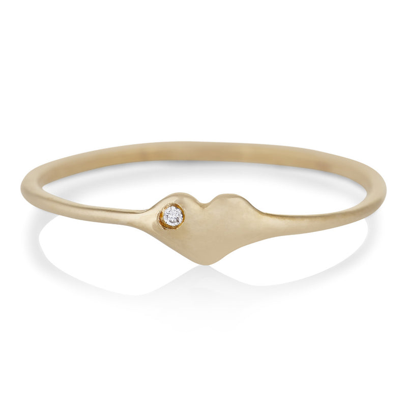 Tiny Heart Ring in Gold with Diamond
