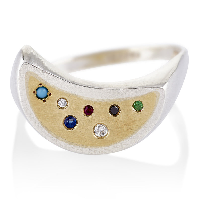 Half Moon Ring with Mixed Stones