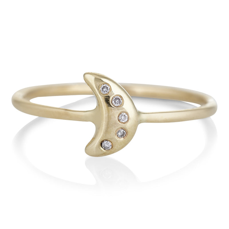 Tiny Moon Ring in Gold