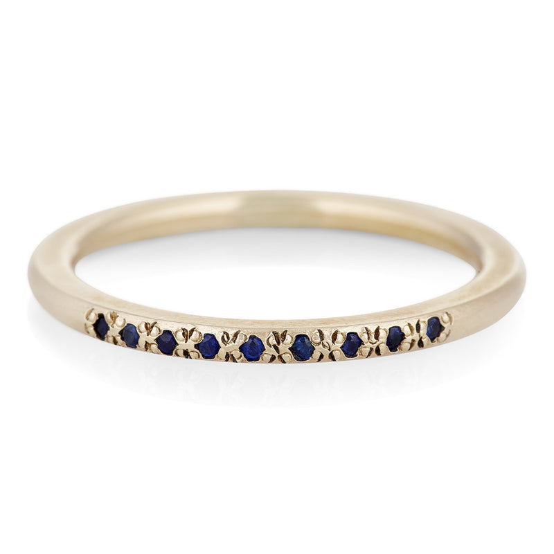 Nine Stone Stack Ring with Blue Sapphires