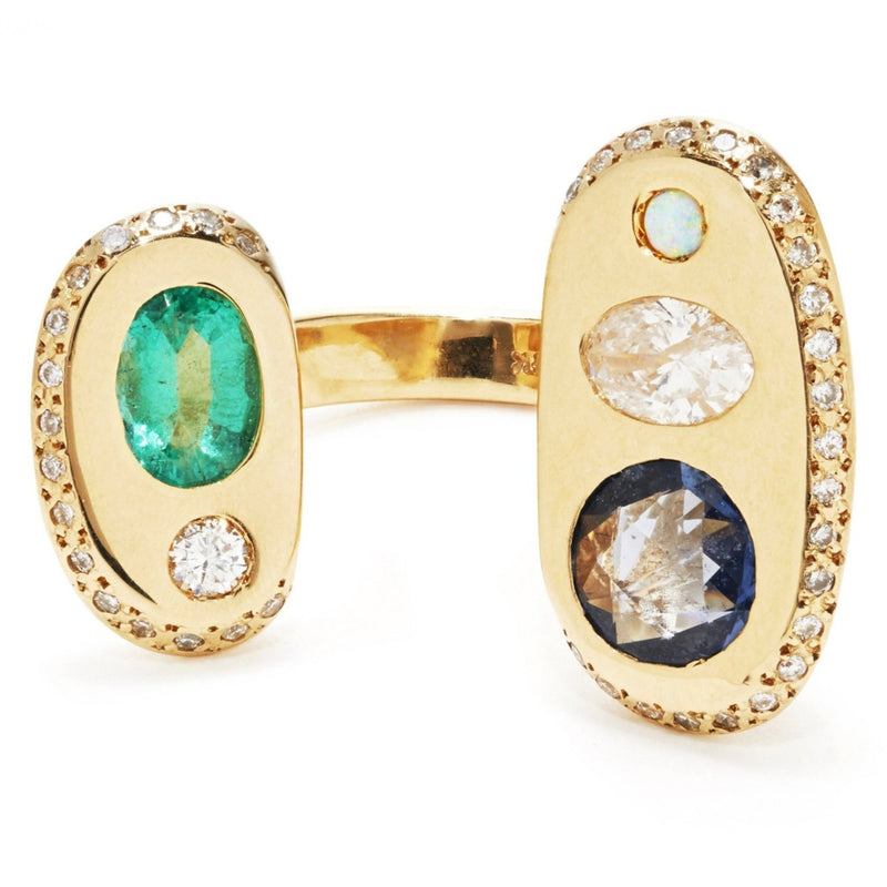 Audre Ring with Blue Sapphire and Mixed Stones