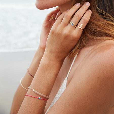 Classic Diamond Bracelet in Natural and Neon Peach