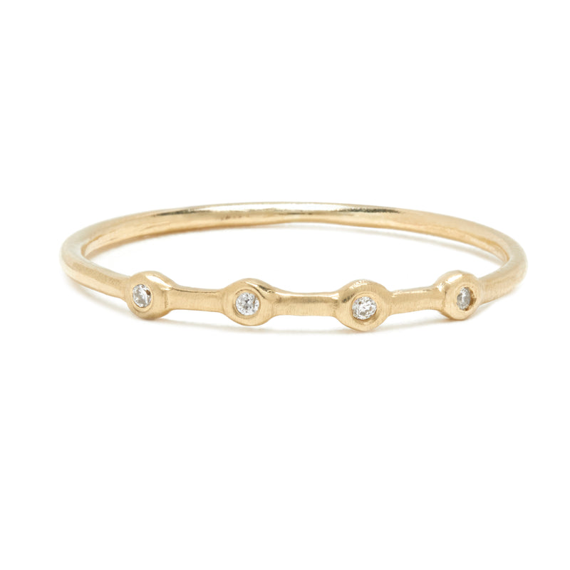 Quattro Ring in Gold with Diamonds