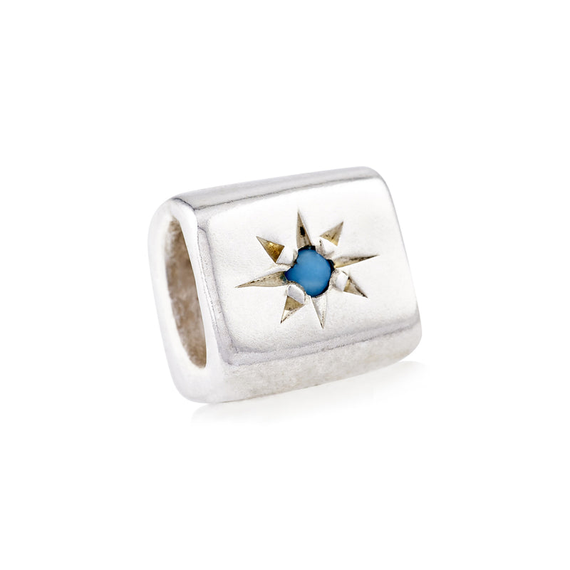 STERLING SILVER TURQUOISE STAR SLIDER BEAD