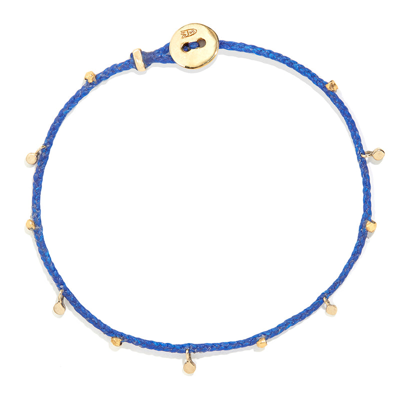 Fairy Bead Bracelet in Royal Blue with Brass