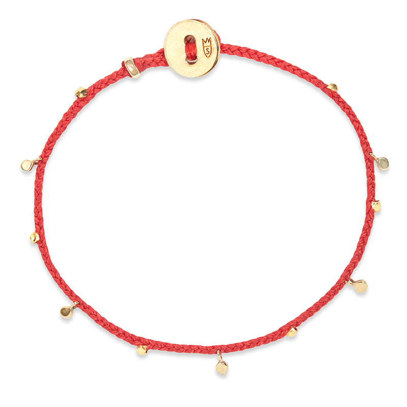 Fairy Bead Bracelet in Scarlet with Brass
