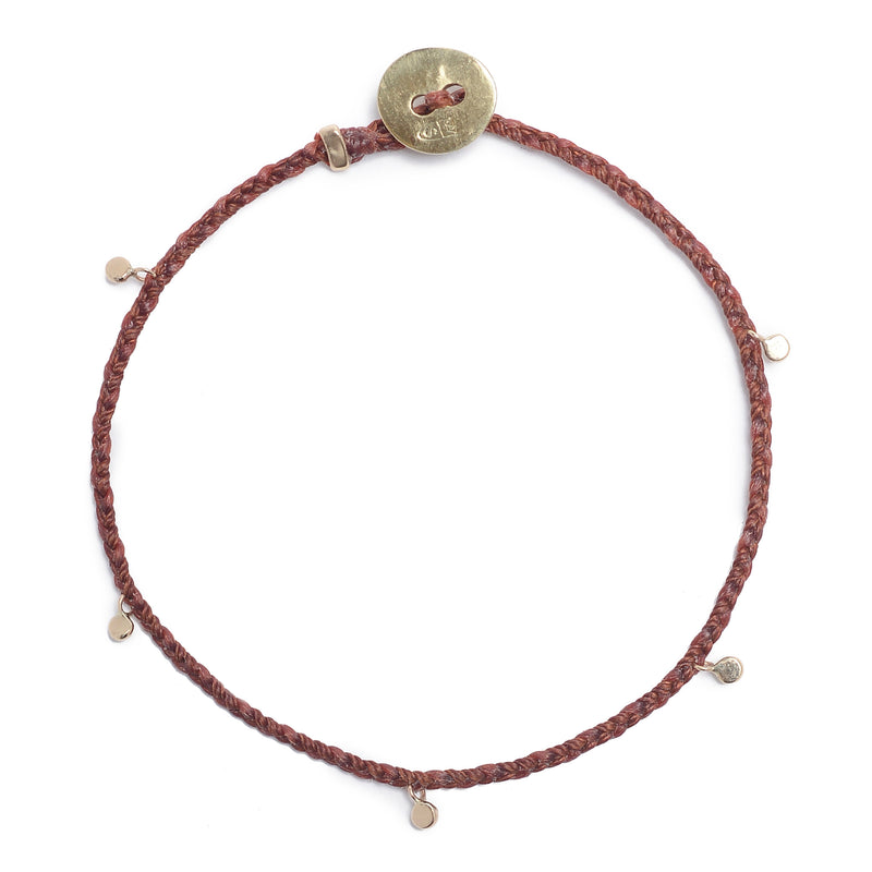 Fairy Bead Bracelet in Rust with Brass