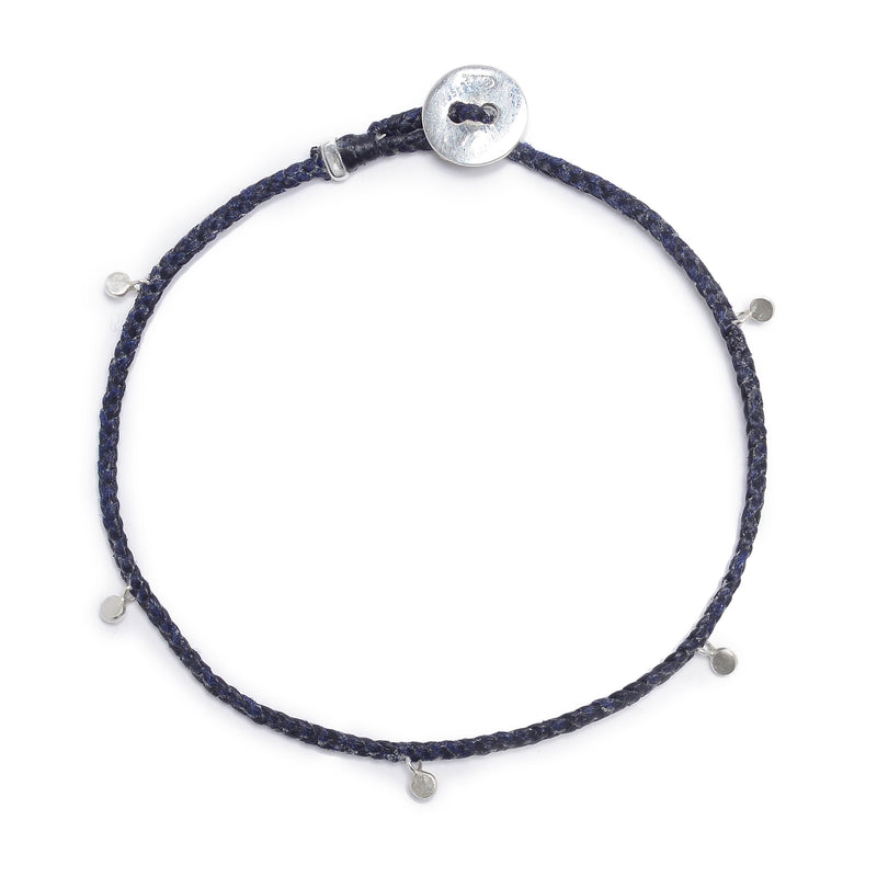 Fairy Bead Bracelet in Indigo with Silver