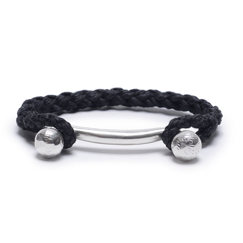 Double Ball Bar with Rope Cuff in Black