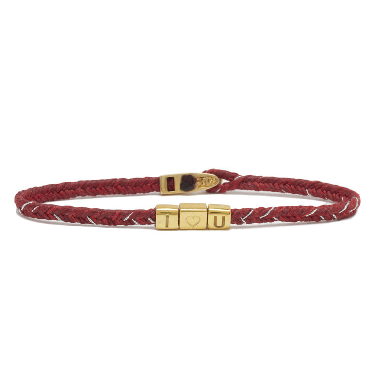 TOTEM I ♡ U BRACELET IN RED FLECK AND BRASS