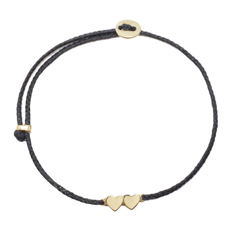 Double Heart Slider Bracelet in Black and Gold