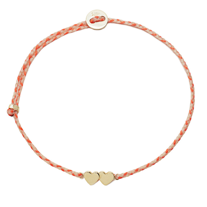 Double Heart Slider Bracelet in Natural & Neon Peach and Gold