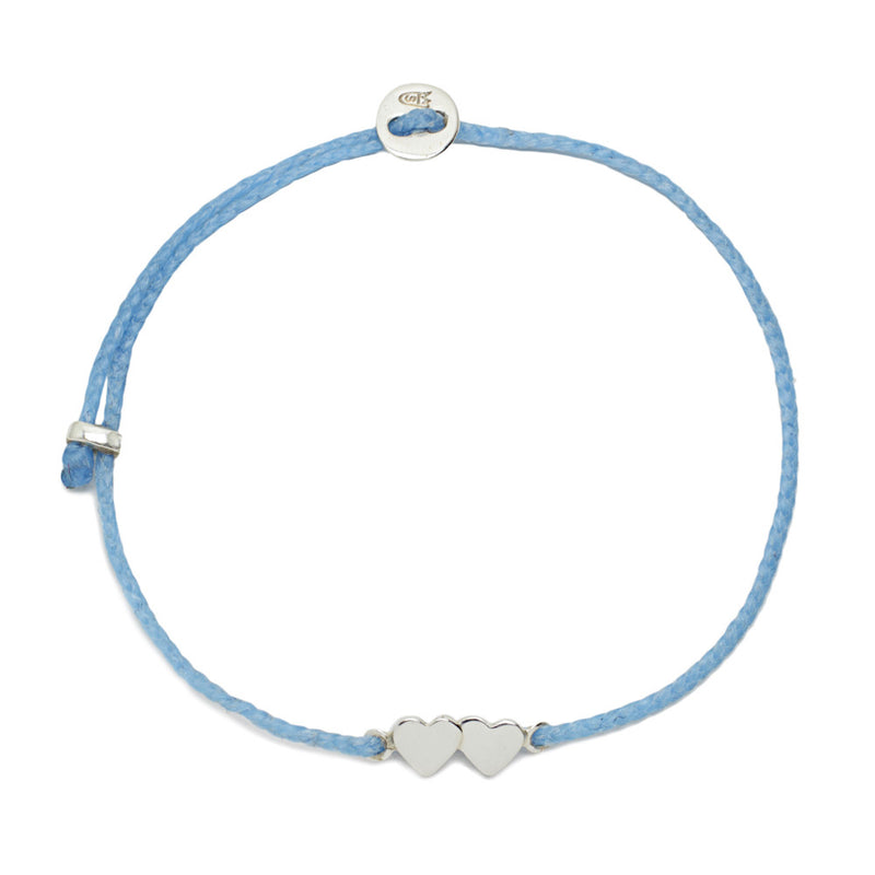 Double Heart Slider Bracelet in Sky