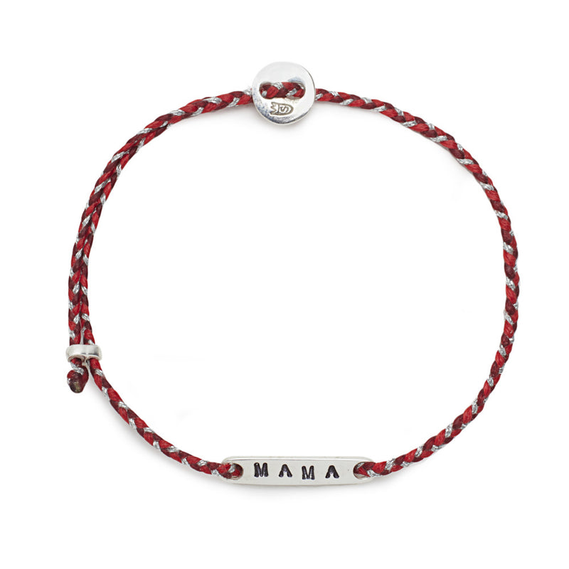 Mama Slider Bracelet in Red Blend and Silver