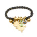 Rope Cuff with Charms Bar in Brass on Black and Gold Braid