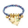 Rope Cuff with Charms Bar in Brass on Royal Blend Braid