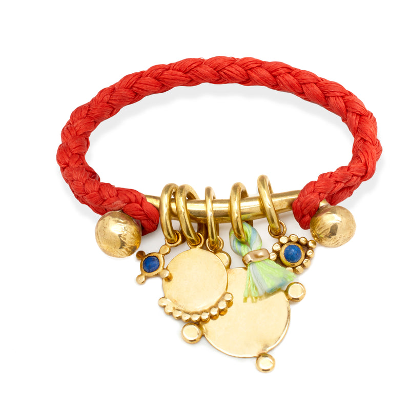 Rope Cuff with Charms Bar in Brass on Scarlet Braid