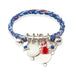 Rope Cuff with Charms Bar in Silver on Royal Blend Braid