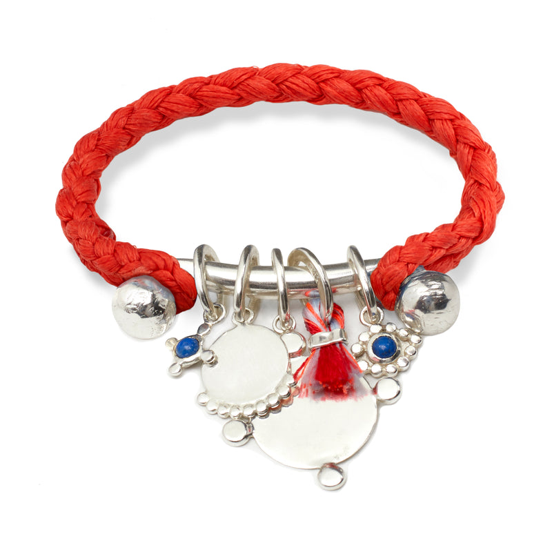 Rope Cuff with Charms Bar in Silver on Scarlet Braid