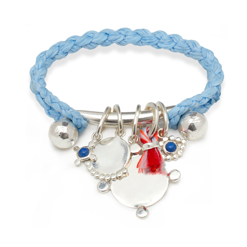 Rope Cuff with Charms Bar in Silver on Sky Blue Braid