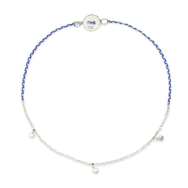 Precious Fairy Chain Bracelet in Silver with Royal Blue and White