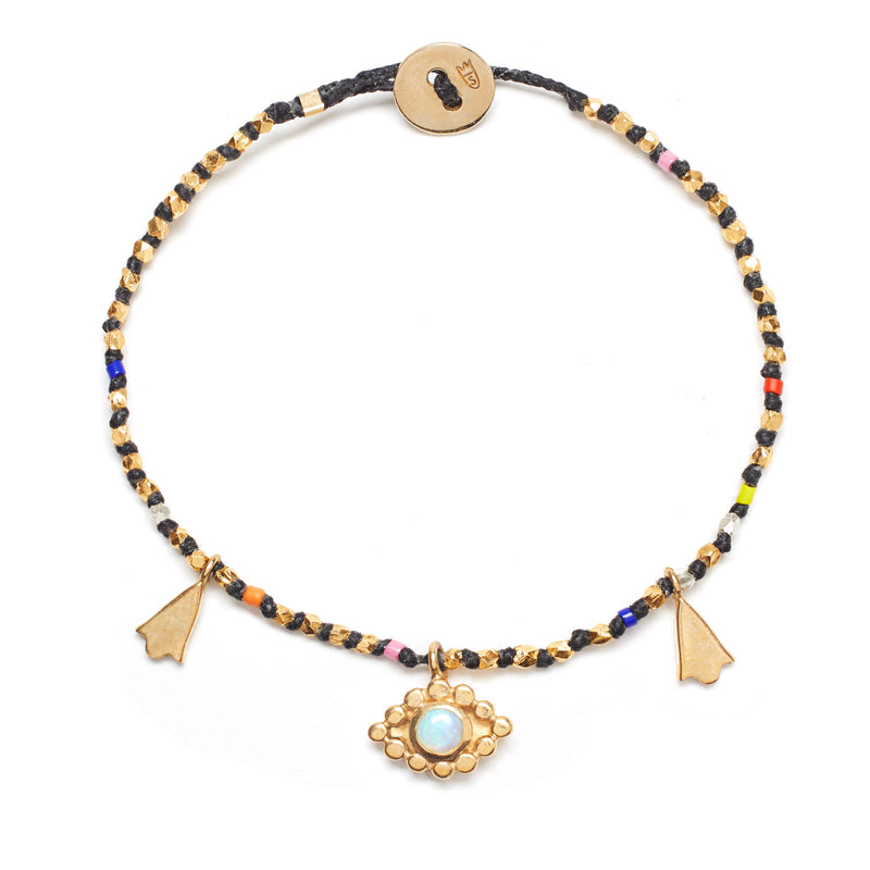 Evil Eye Charm Bracelet in Brass