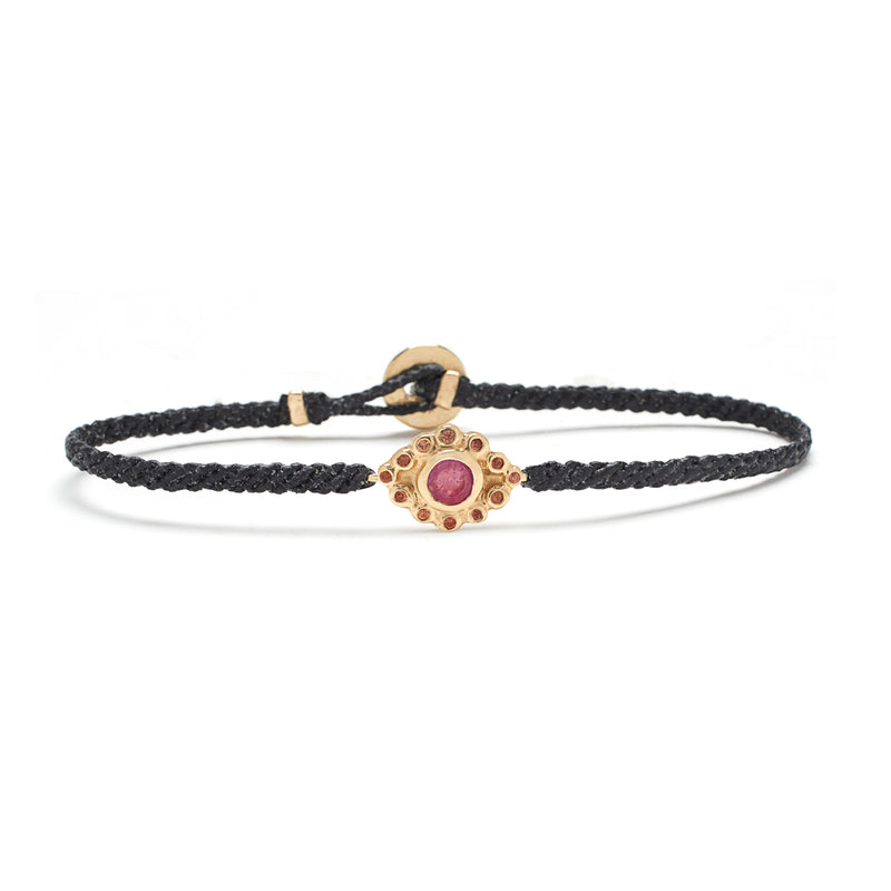 Evil Eye Macrame Bracelet in Gold with Ruby and Peach Sapphires