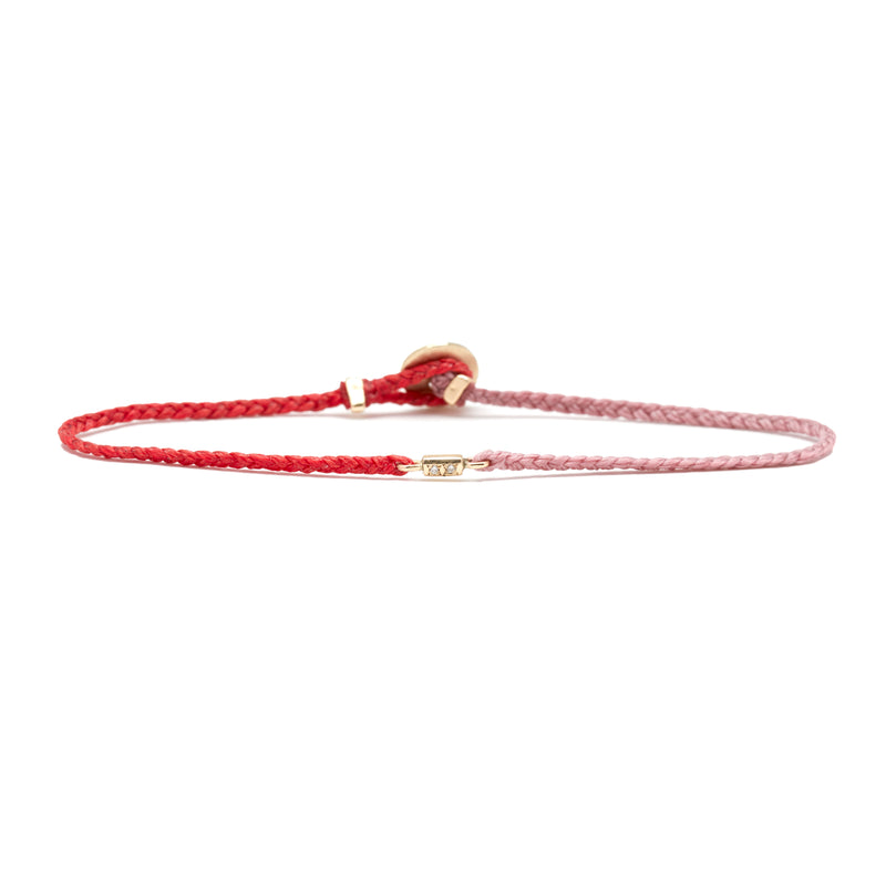 Fairy Bar Bracelet with Diamond in Scarlet and Rose