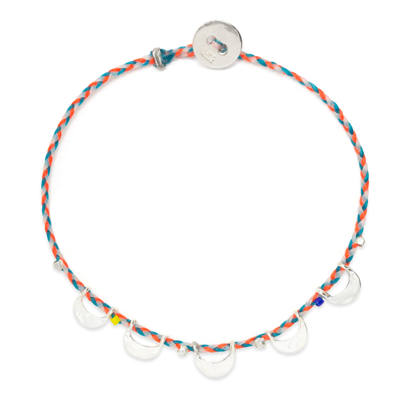 Luna Caravan Bracelet in Neon Orange, Turquoise, and White