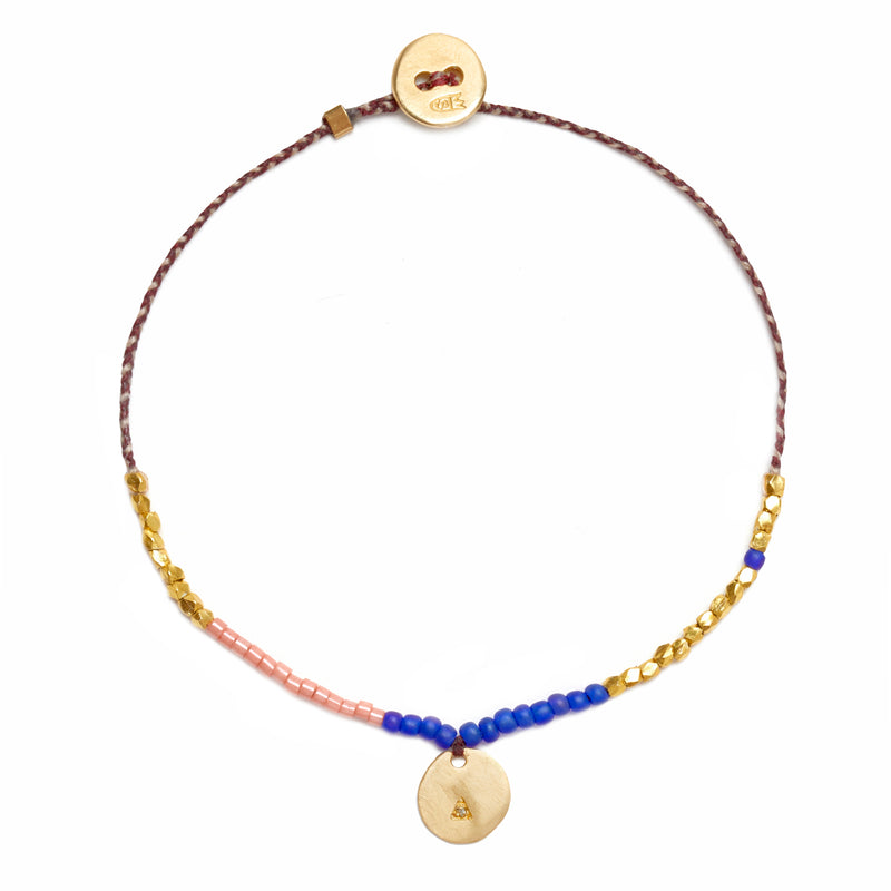 Coin Trinket Bracelet in Gold with Diamonds