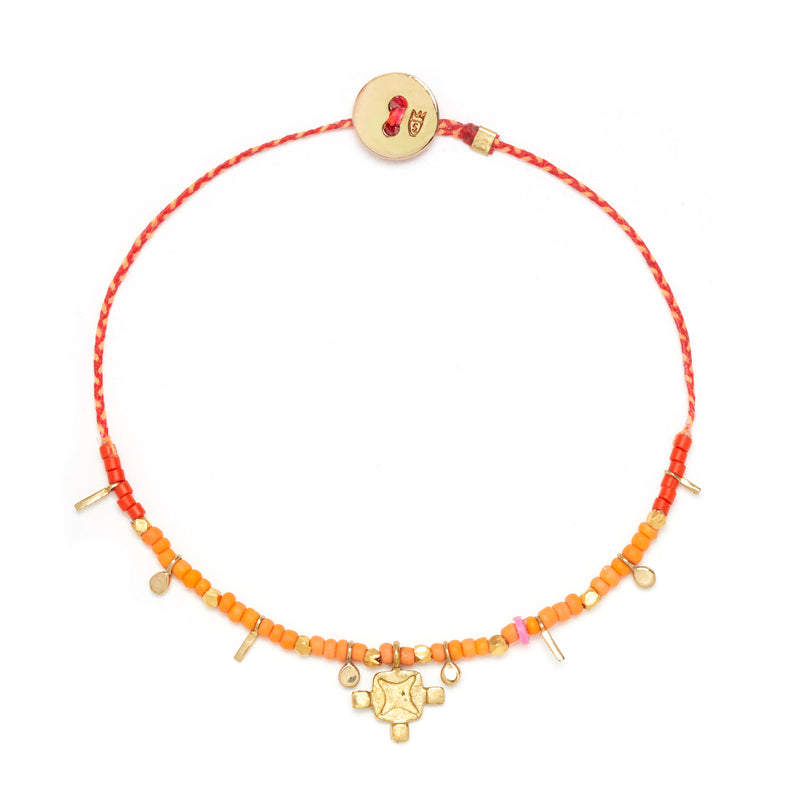 Lotus Flag Bracelet in Scarlet/Neon Peach
