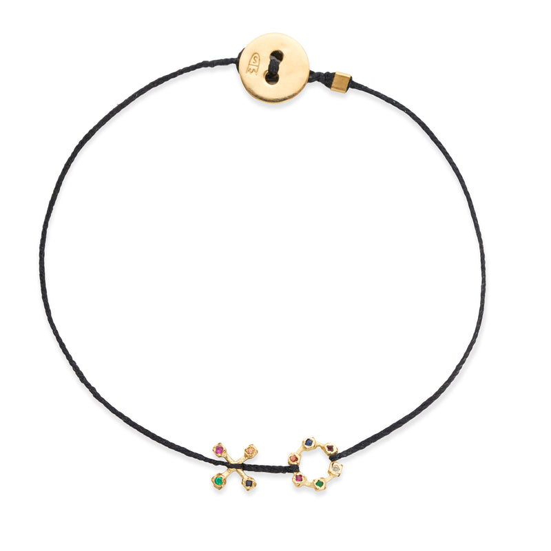 XO Bracelet in Gold with Mixed Stones