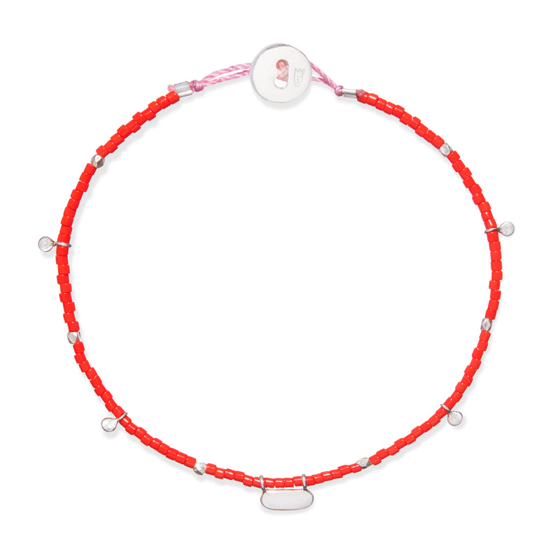 Beaded Bracelet with Fairy Charms in Silver and Red