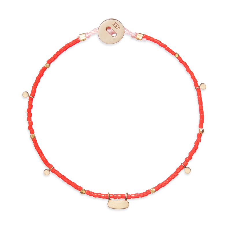 Beaded Bracelet with Fairy Charms in Gold and Red