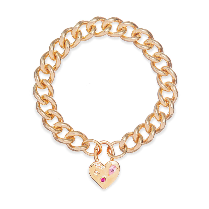 Night Market Heart Chain Bracelet In Gold Vermeil