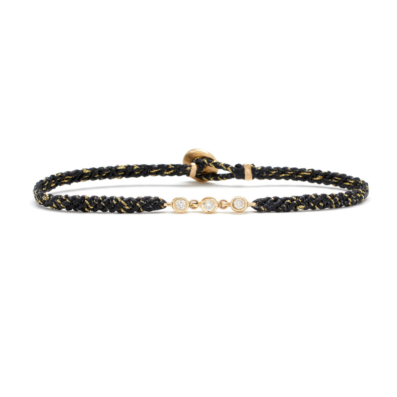 Trio Bezel Bracelet in Black and Gold Fleck with Diamonds