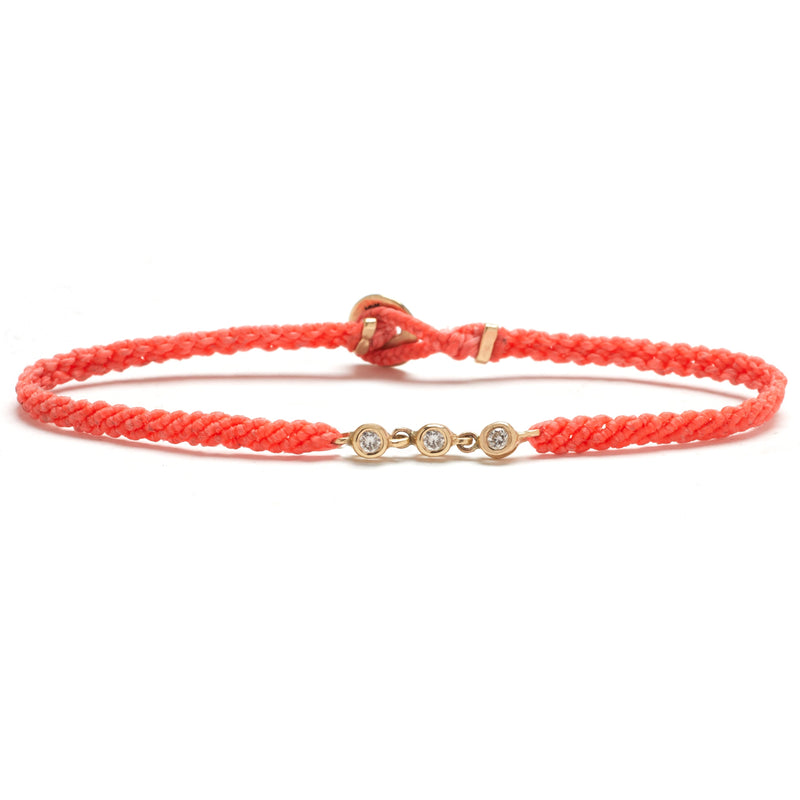 Trio Bezel Bracelet in Salmon with Diamonds