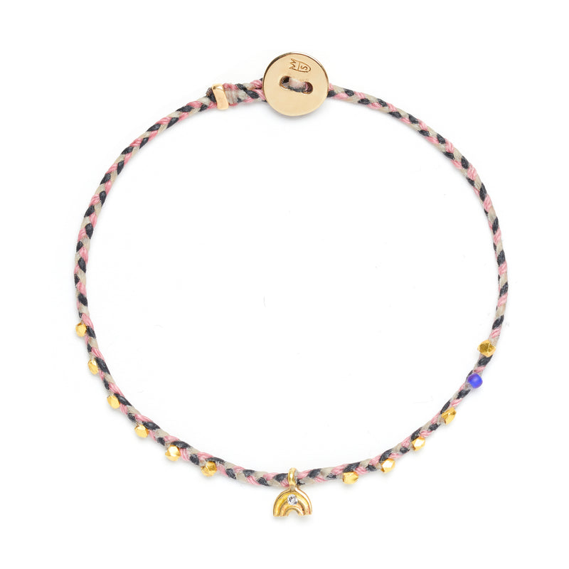 Easygoing Rainbow Charm Bracelet in Black, Rose, and White