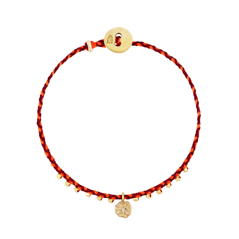 Easygoing Sun Charm Bracelet in Red and Neon Pink