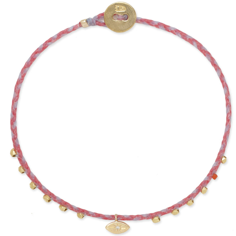 Easygoing Diamond Eye Charm Bracelet in Hot Pink and Sky