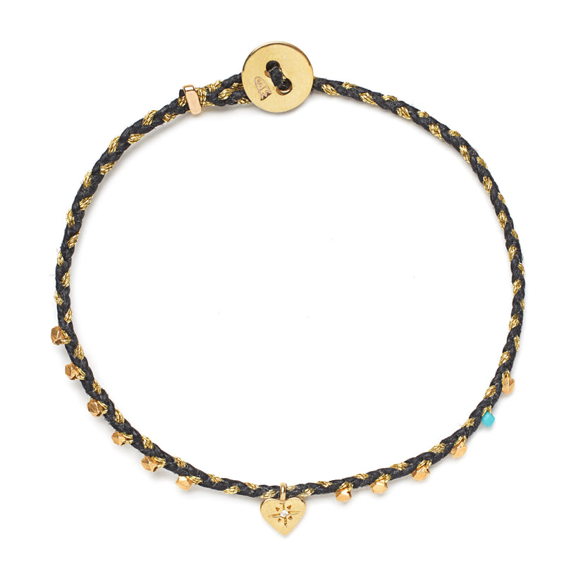 Easygoing Heart Charm Bracelet in Black and Gold