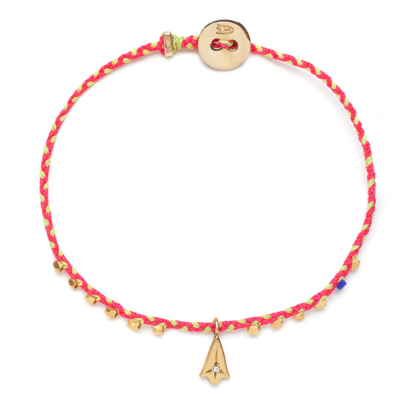 Easygoing Lotus Charm Bracelet in Fuchsia and Neon Yellow