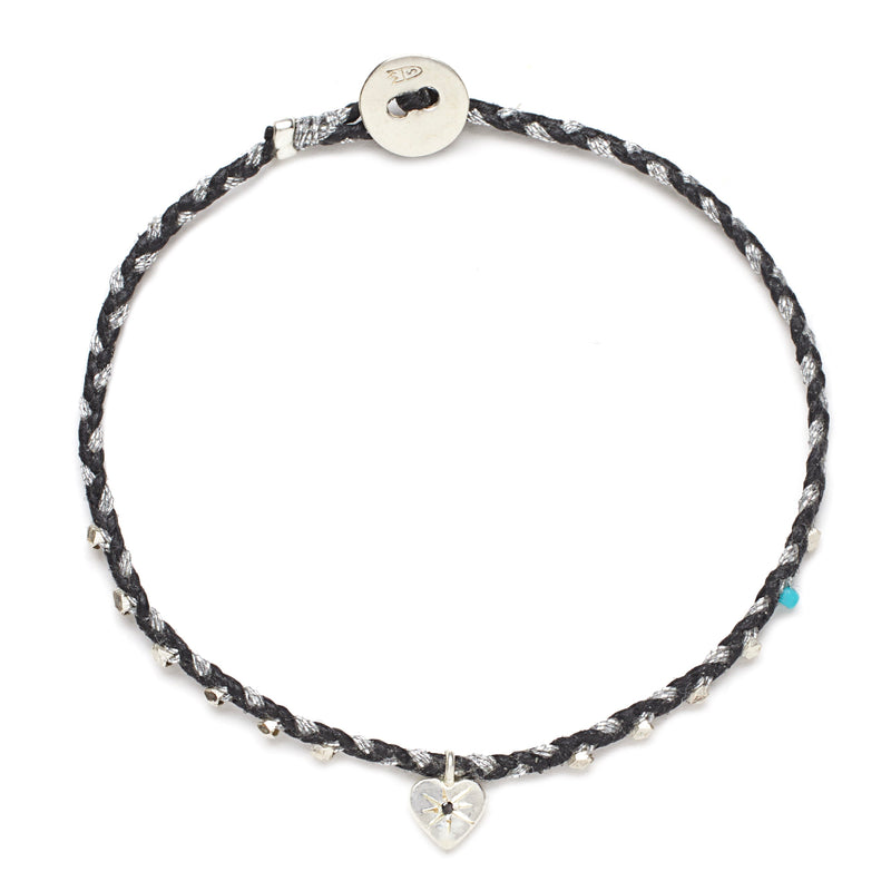 Easygoing Heart Charm Bracelet in Black and Silver