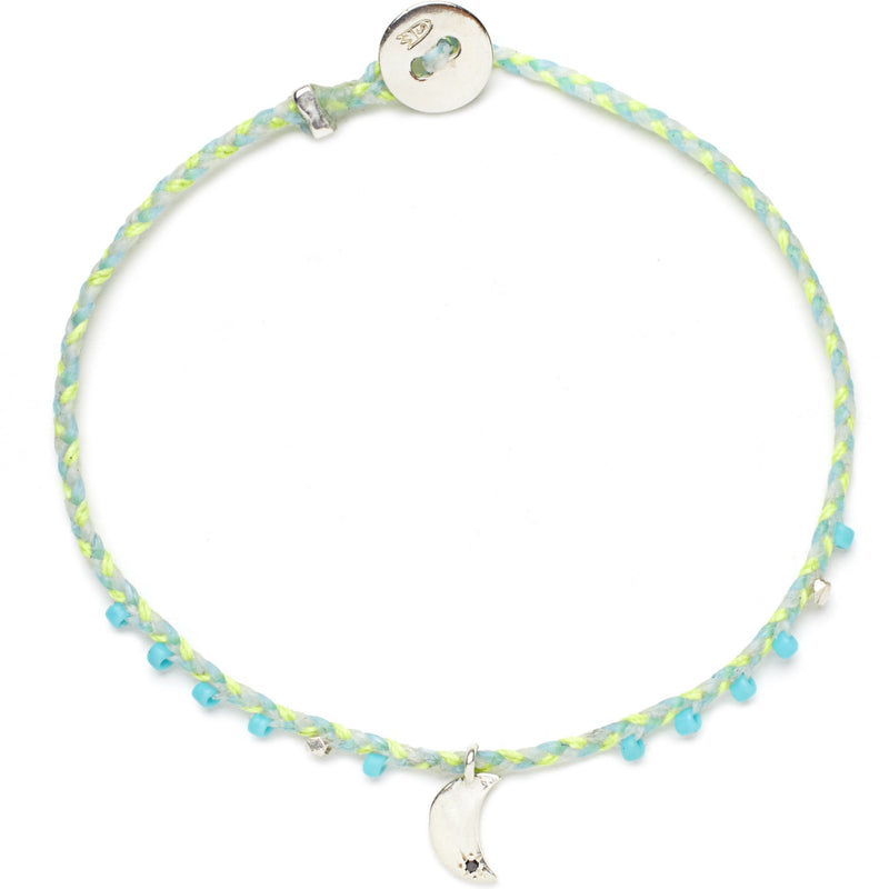 Easygoing Moon Charm Bracelet in Neon Yellow, Sky Blue, and White