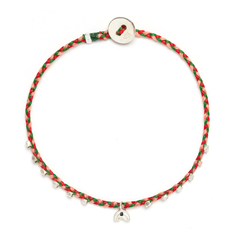 Easygoing Rainbow Charm Bracelet in Hot Pink, Kelly Green, and Scarlet