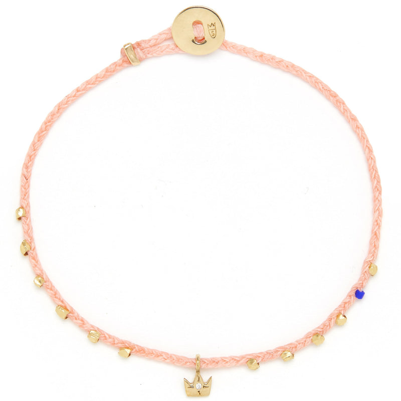 Easygoing Diamond Crown Charm Bracelet in Coral