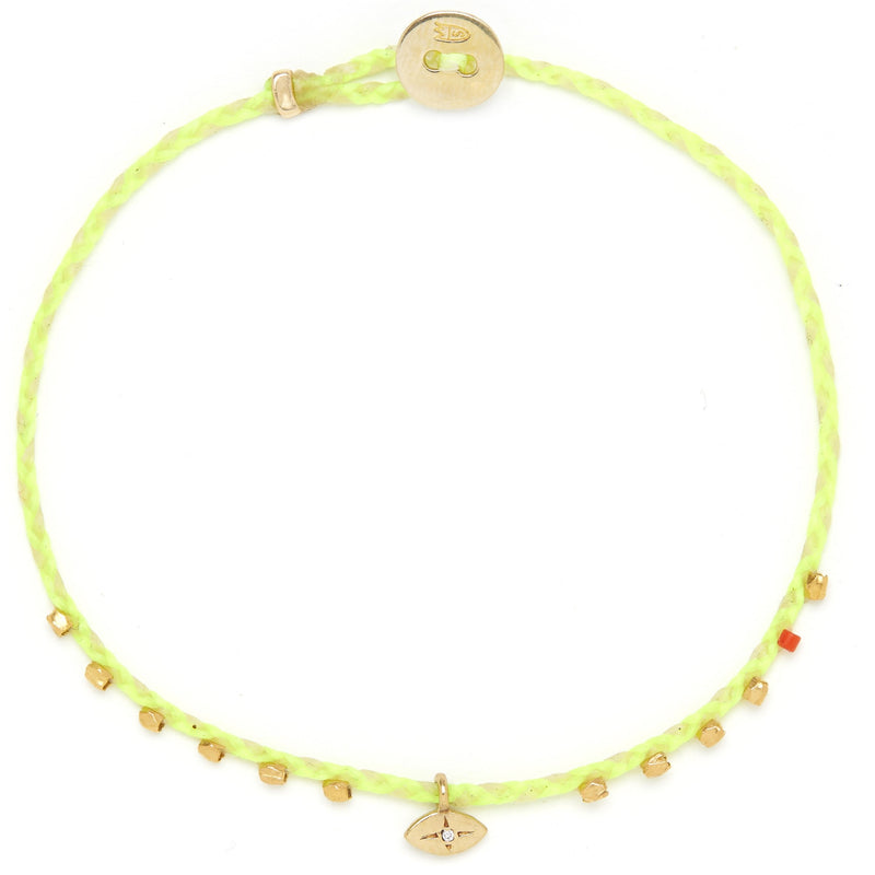 Easygoing Diamond Eye Charm Bracelet in Neon Yellow/Natural Blend